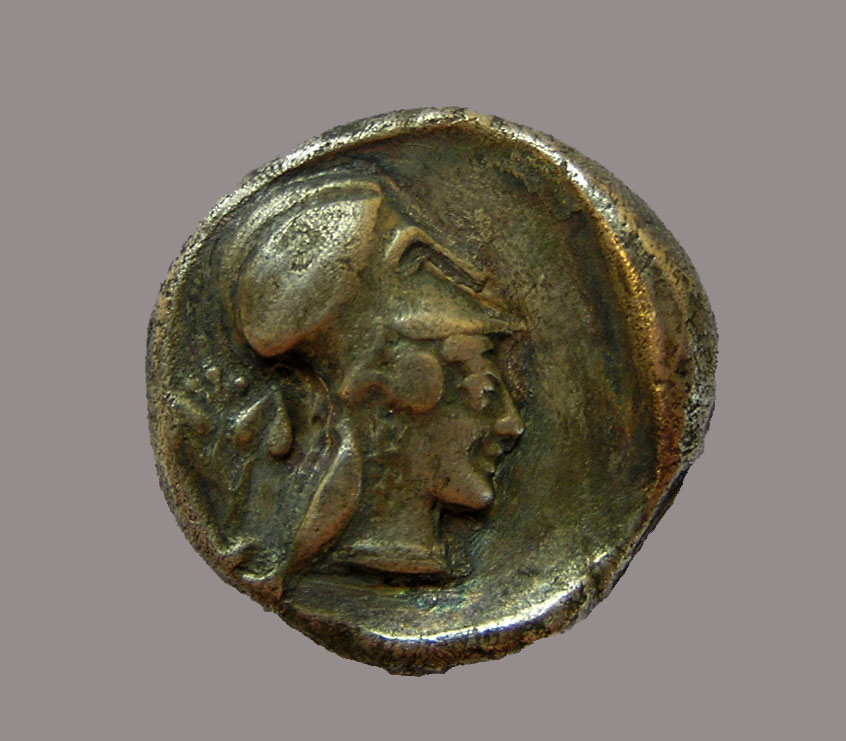 Athena Chalinitis on a silver stater (coin) from Ambracia, 480 BC. Archaeological Museum of Arta. (credit: 33rd EPCA)