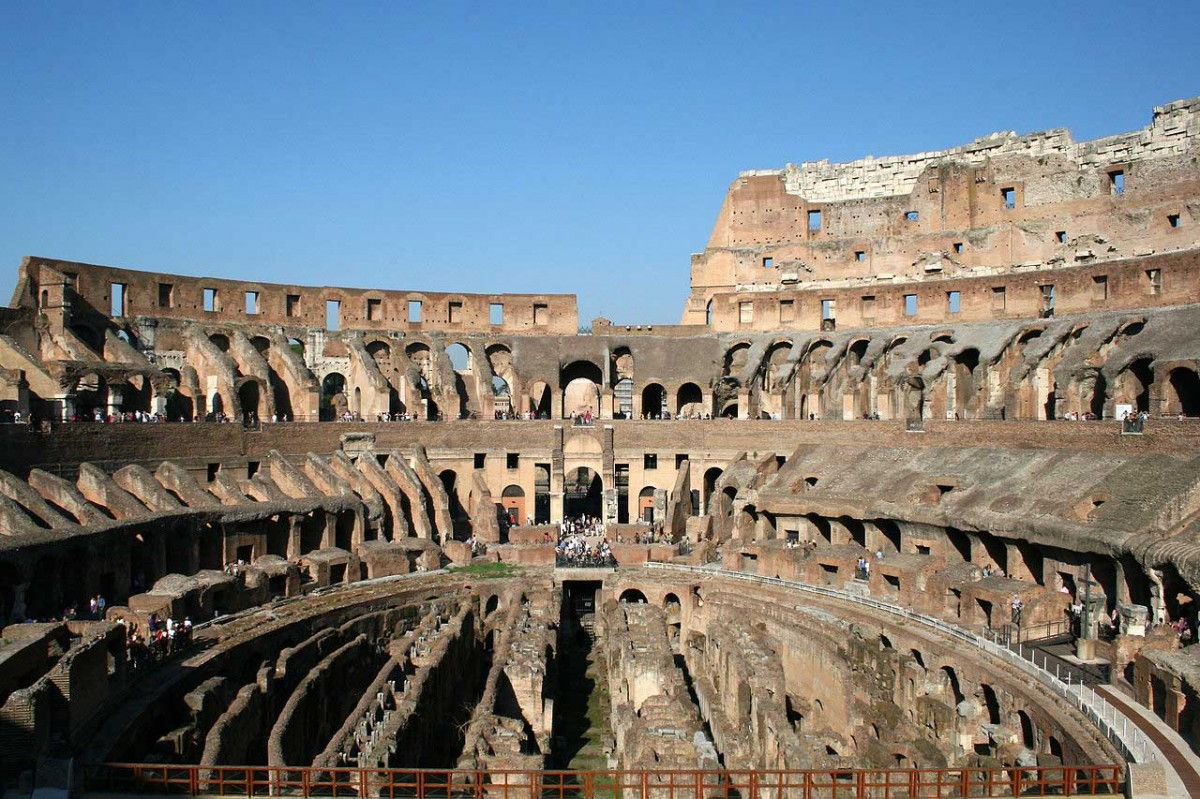 The Colosseum arena, showing the hypogeum.