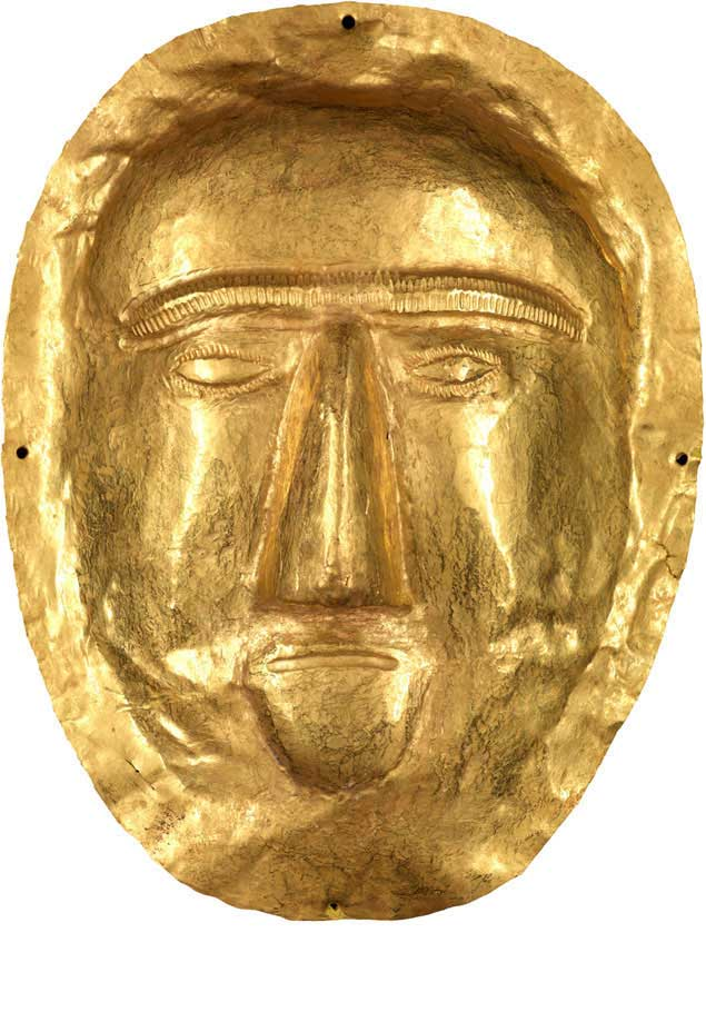 Funerary Mask, 1st century CE, Thaj, Tell al-Zayer, Saudi Arabia. Gold, 17,5x13 cm. National Museum, Riyadh.