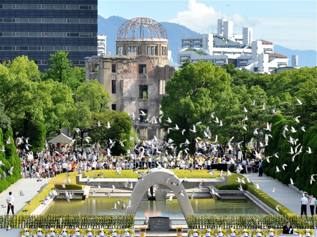 Hiroshima Peace Memorial Park on Aug. 6, 2012 during a memorial ceremony to mark the 67th anniversary of the atomic bombing of Hiroshima. (Kazuhiro Nogi/AFP/Getty Images)