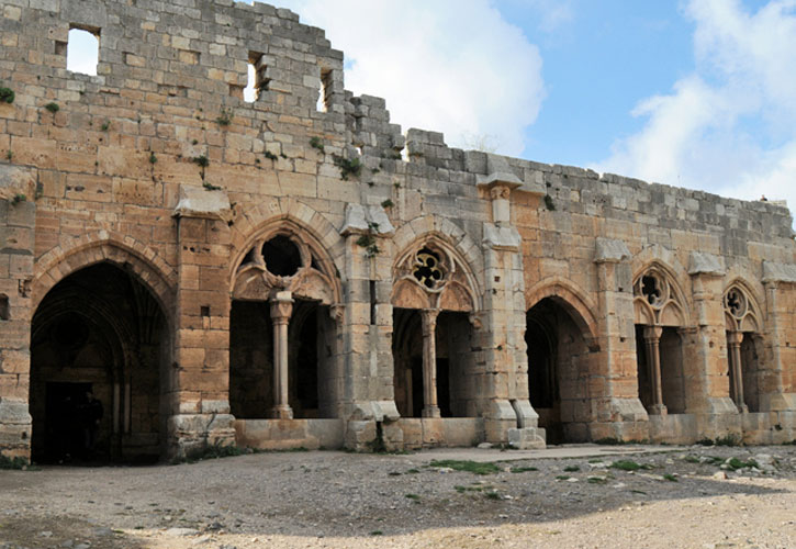 Crac des Chevaliers: The Gothic loggia, dated to the second half of the thirteenth century, seen in 2009. Photo: World Monuments Fund.