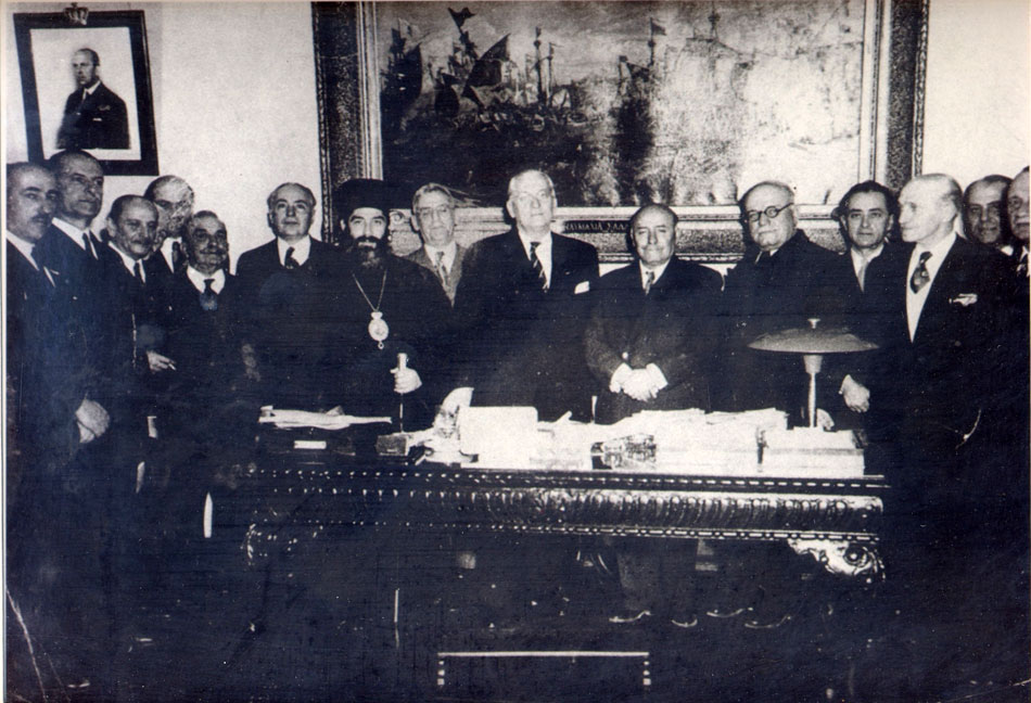 Fig. 1. Commemorative photograph. The signing of the founding act of the Hellenic Maritime Museum in the offices of the Minister of the Navy, of that time, Gerasimos Vasiliadis, on  April 7, 1949.