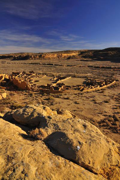 Sites like Pueblo Bonito in northern New Mexico reached their maximum size in the early A.D. 1100s, just before a major drought began to decrease birth rates throughout the Southwest. Credit: Nate Crabtree Photography