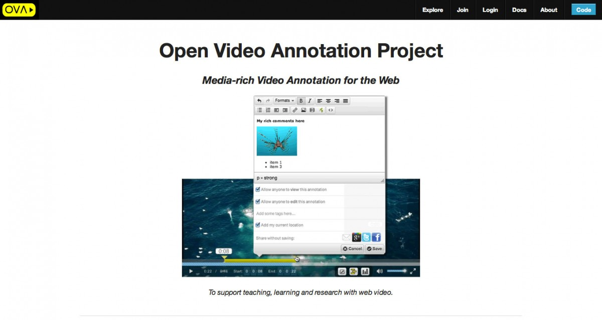 Open Video Annotation Project, screen shot.