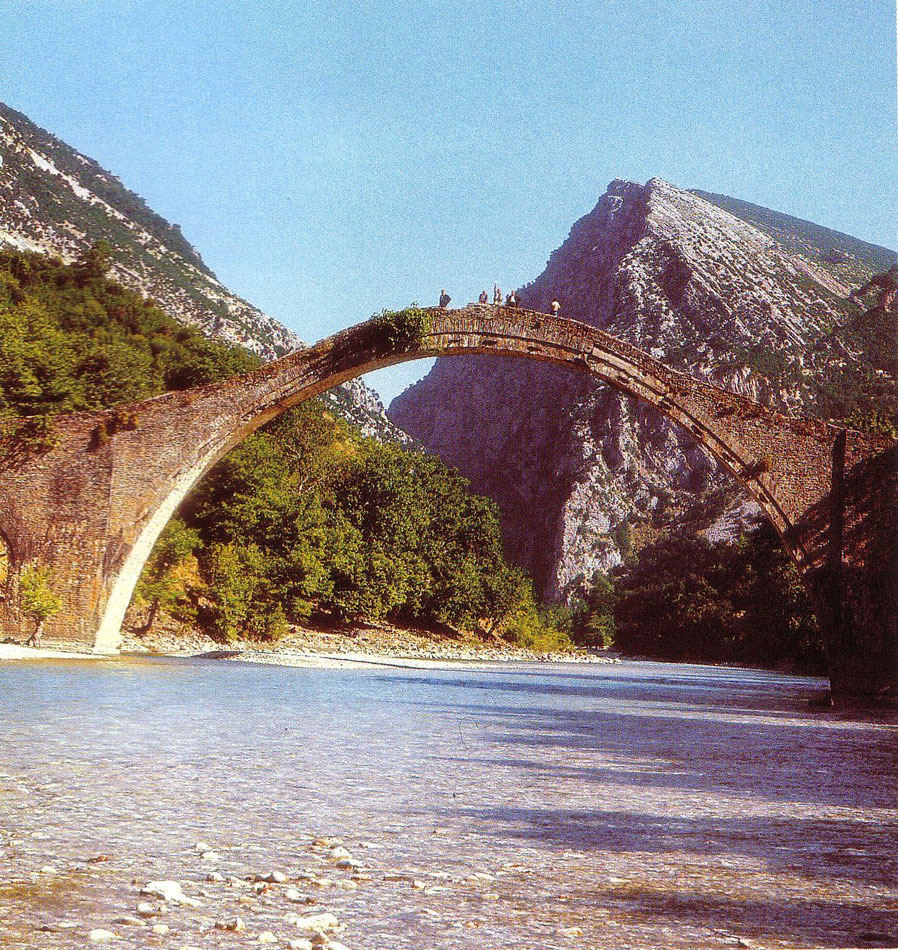 Fig. 6. The single arched bridge in Plaka, which spans the two banks of the Arachthos river and is a landmark of the entrance to the Tzoumerka region.