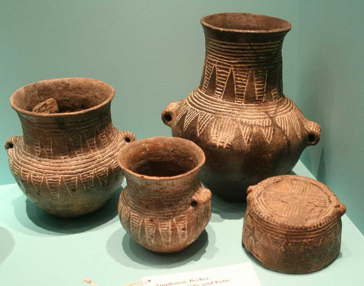 Corded ware pottery. Museum für Vor- und Frühgeschichte (Berlin). Ca. 2500 BC.