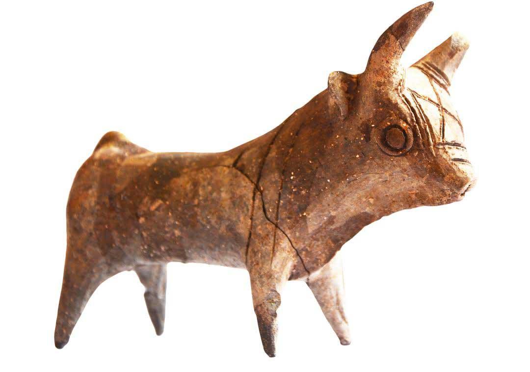 Fig. 2. Dromolaxia-Vizatzia: Bull figurine of fired clay, 13th century BC.
