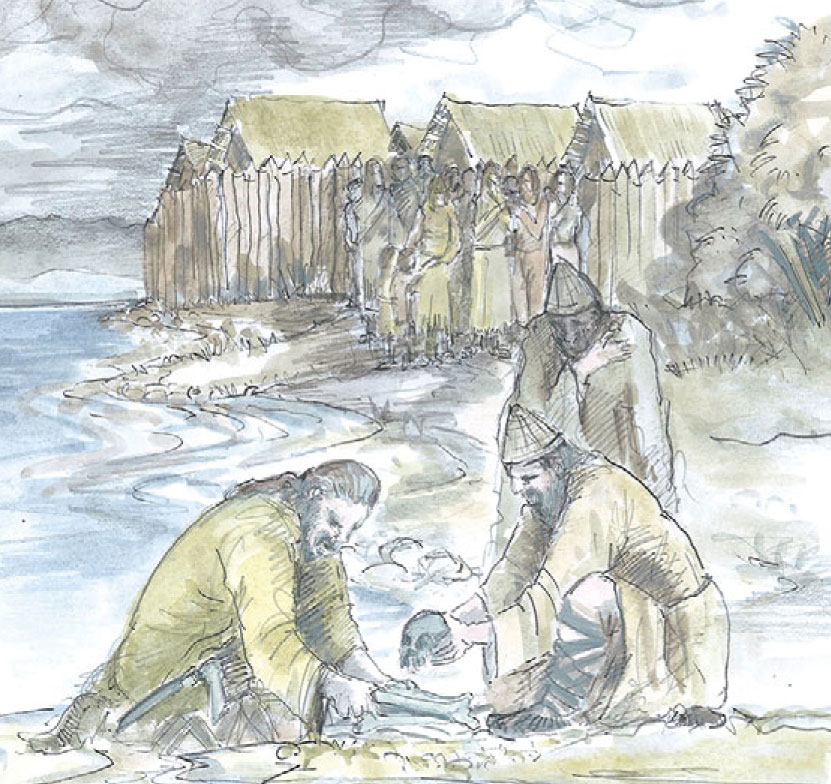 An illustration of Bronze-Age lake dwellers in Switzerland and Germany, who may have buried children's skulls at the perimeter of their settlements as gifts to lake gods to ward off flooding.Credit: Benjamin Jennings et al, Antiquity 2014
