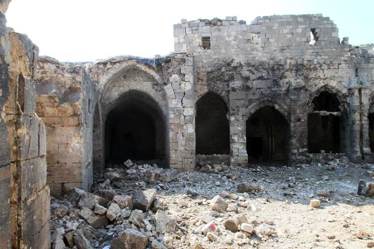 Crac des Chevaliers: The Gothic loggia, after the Syrian air force bombed the castle in March 2014. Photo:  APSA