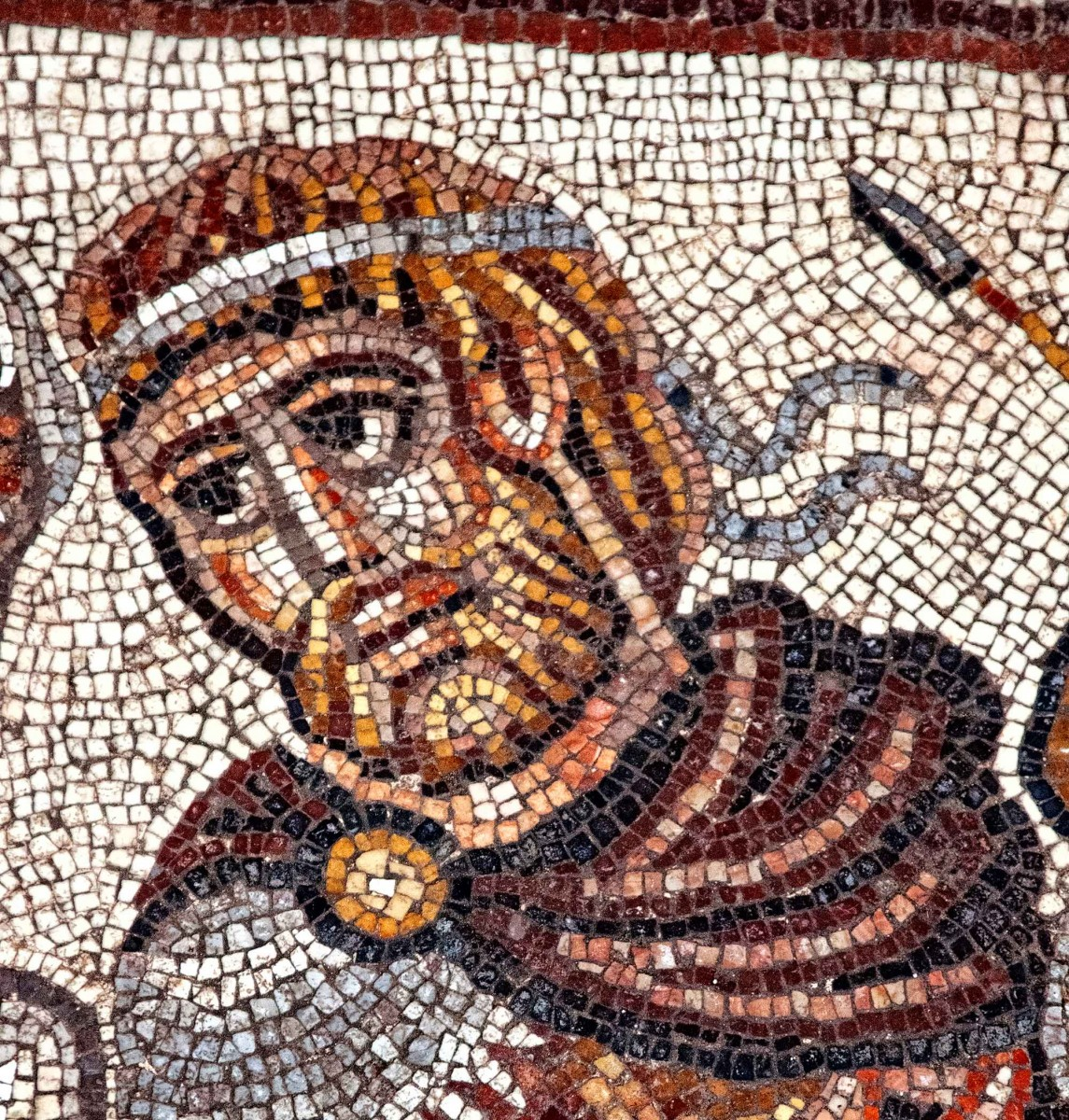 Detail of mosaic at Huqoq, Israel: The head of the possible Alexander figure in the mosaic. (photo by Jim Haberman)
