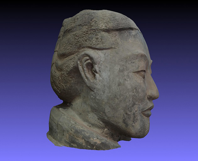 Fig. 1. China's Terracotta Army, 3D: A computer-vision rendering of a soldier from the terracotta army. Credit: Andrew Bevan