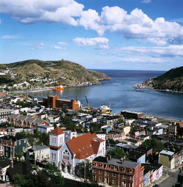 The city of St. John's is built around a spectacular natural harbour.