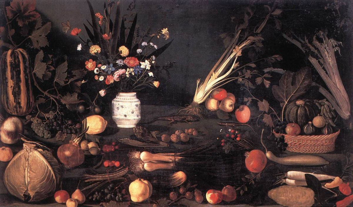 Still life with flowers and fruit by Caravaggio, 1601.