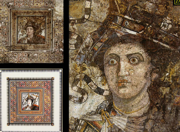 Mosaic by Sophilos: Arsinoe II as Aphrodite Queen of the Seas, from Thmuis, Alexandria. Ca.250-‐200 BC.