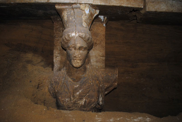Amphipolis: The western caryatid's face is almost intact.