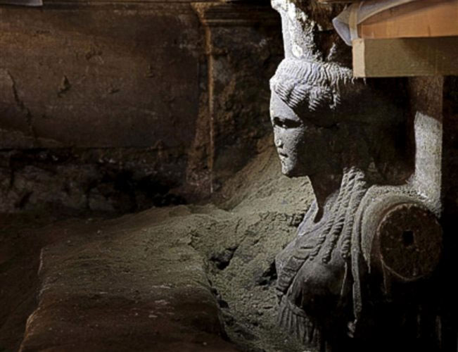 Amphipolis: The 4.5 meters wide sealing stone wall in front of the caryatids.
