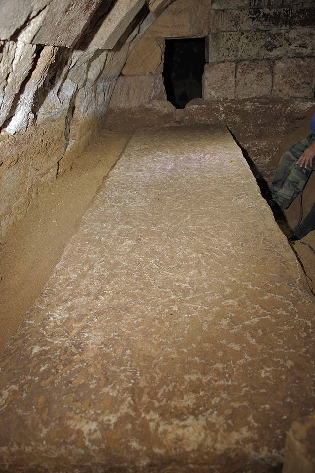 Amphipolis: The excellently preserved marble rectangular slab.
