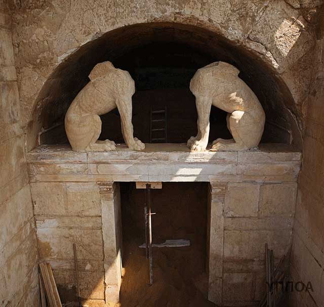 The entrance to the tomb at Amphipolis as seen on the 25th of August 2014.