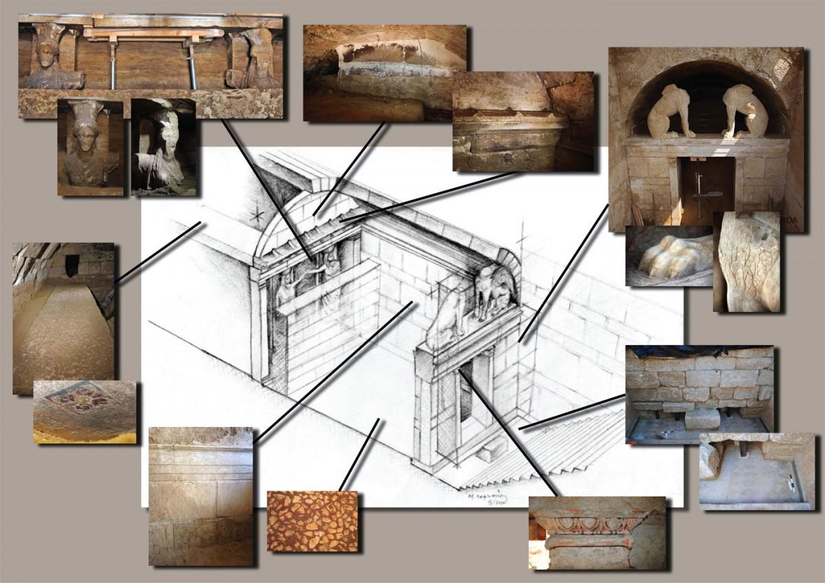 Amphipolis: Axonometric representation of the burial monument at the Kasta hill by architect M. Lefantzis.
