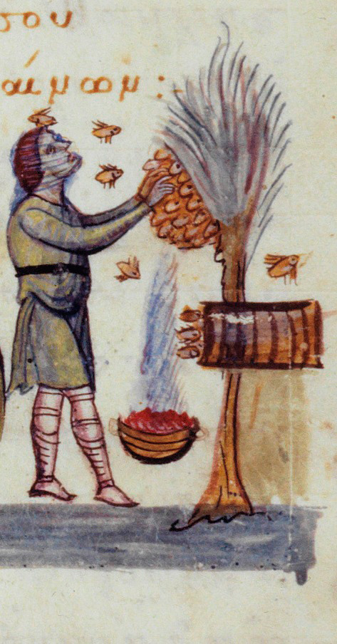 """Aristaeos as a beekeeper. Oppian, """"Cynegetica"""", 11th c."""