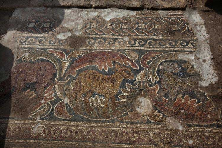 Mosaic of a Byzantine period church which was discovered following excavations in Horbat Midras, near the Israeli town of Beit Shemesh, on February 2, 2011. (Menahem Kahana/AFP/Getty Images)