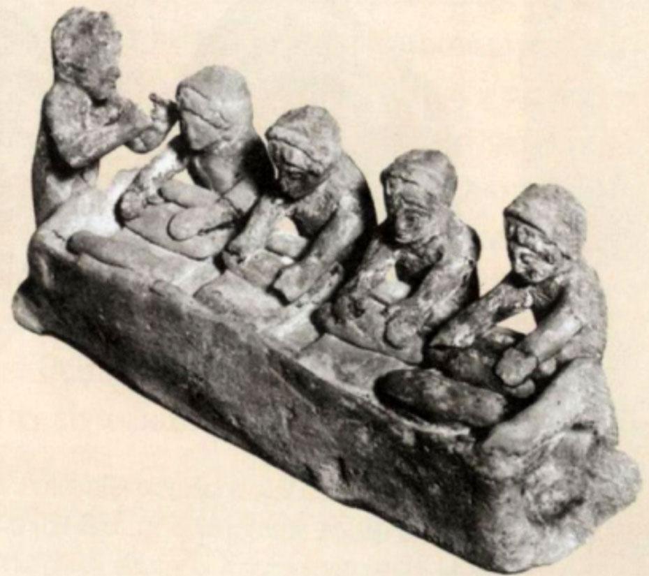 Fig. 1.  Women kneading dough. Terracotta figurine fromThebes. Louvre Museum (Pingiatoglou 2010, p. 43).