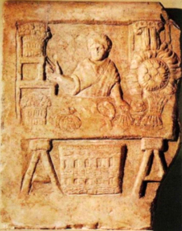 Fig. 2. Greengrocer. Bas relief from Ostia (Pingiatoglou 2010, p. 42).