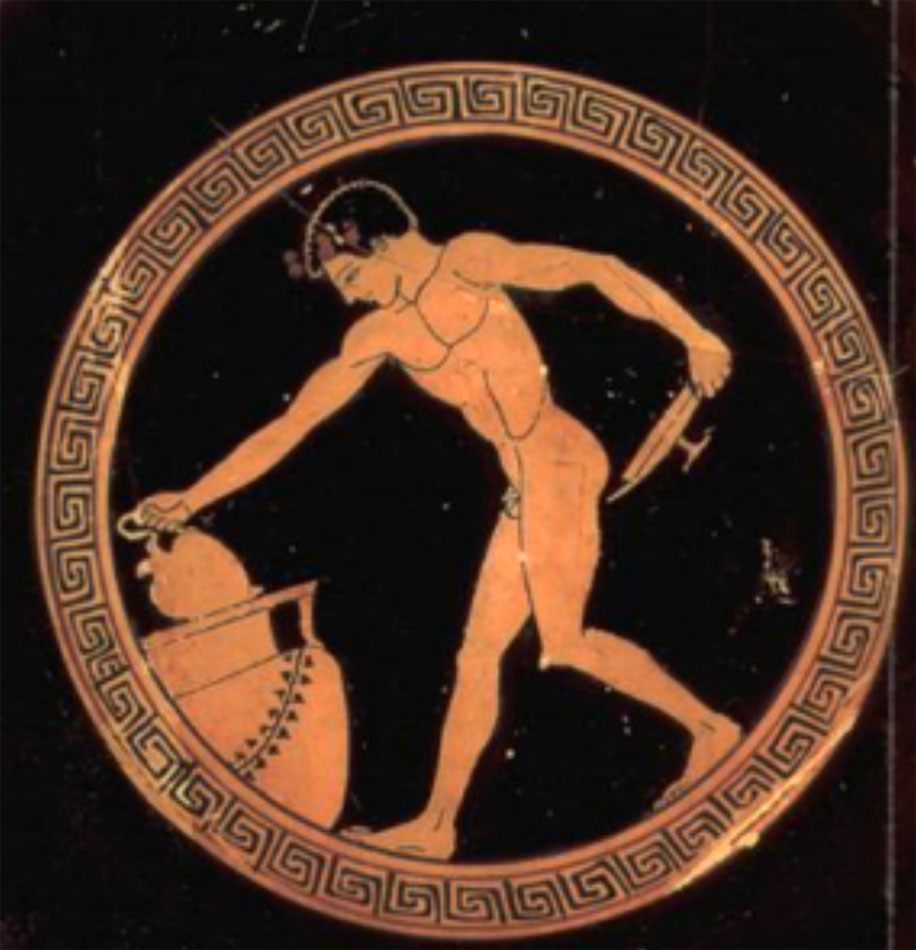 Fig. 5. Young man serving wine from Krater. Attic red figure kylix. Louvre Museum (Royer/Salles/Trassard 2005, p. 70).