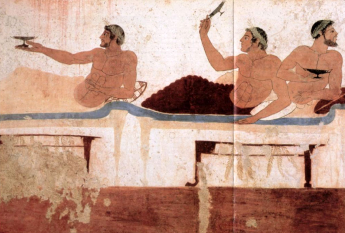 Fig. 6. Scene from a symposium. Fresco from the tomb of the diver, Poseidonium, Italy (Royer/Salles/Trassard 2005, pp. 60-61).