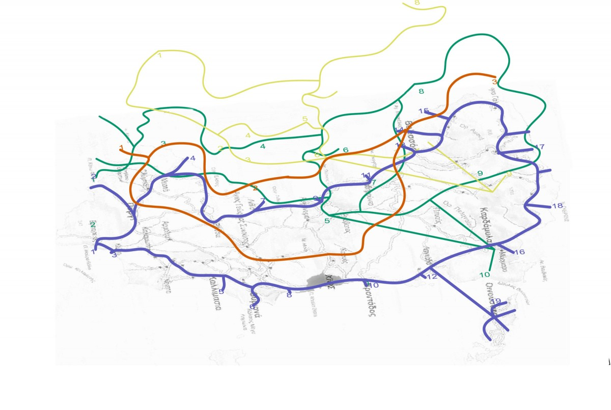 Fig. 8. Three dimensional depiction of routes and landmarks (Δ. Μαγγανά, Ανάβατος: Τα όρια του επιτρεπτού και του απορριπτέου σε έναν ιστορικό, οχυρωματικό οικισμό, 2009).