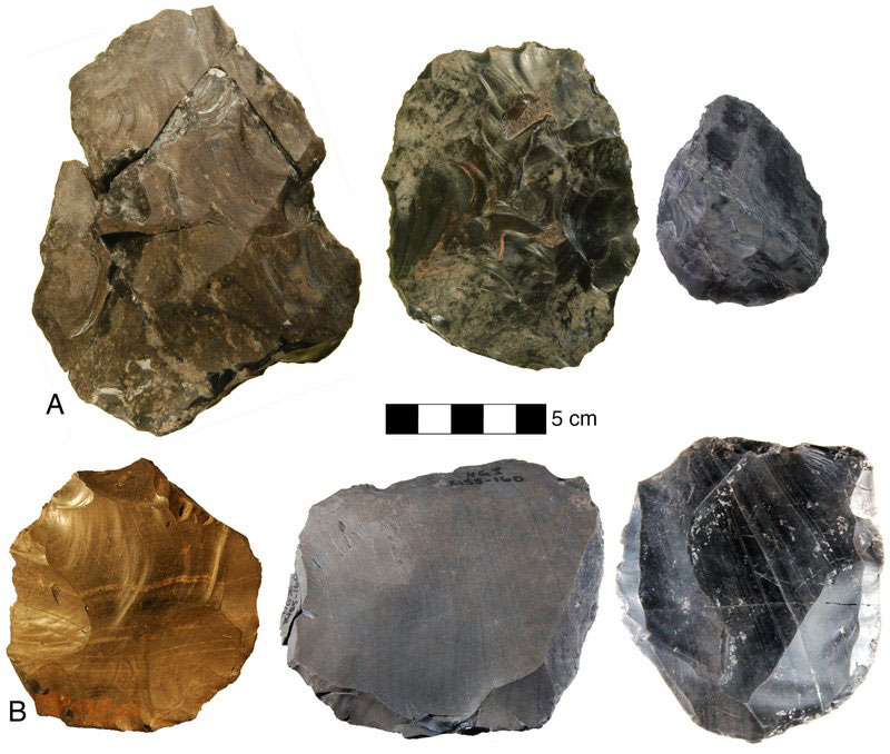 Technological evolution and variability at Nor Geghi 1 (NG1). A) bifaces, B) Levallois cores. Credit: Daniel S. Adler