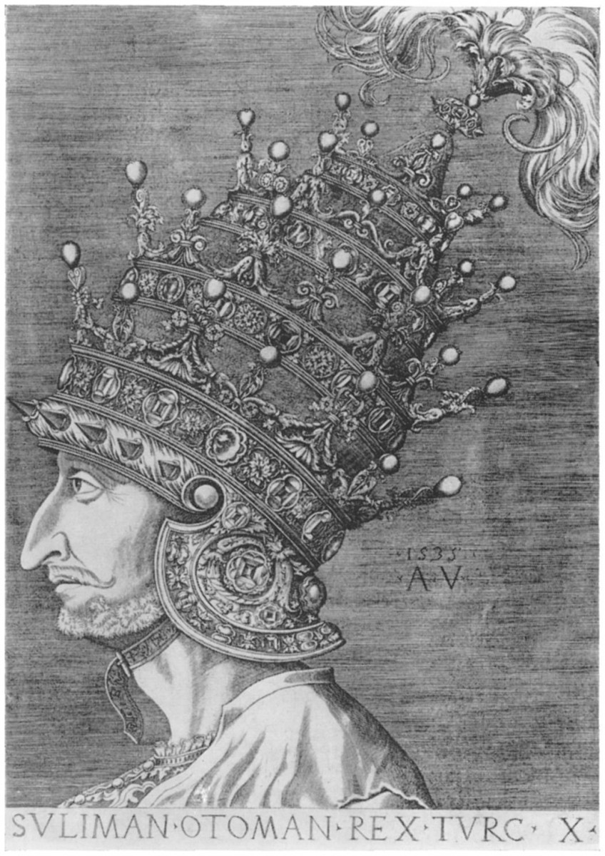 Sultan Suleyman the Magnificent (Agostino Veneziano's depiction of the sultan). Source: Wikimedia Commons