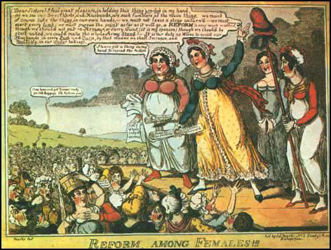 Teaching Women's History: Students of the pilot project were surprised to learn about women's active role in political reform in the Georgian era. 1819 ©Trustees of the British Museum