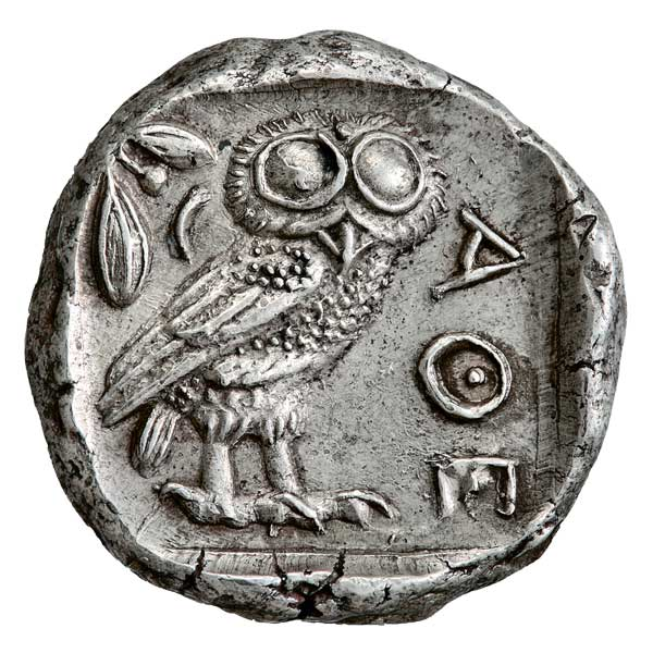 79 of the coins are silver. Photo: Silver tetradrachm, 479-454 BC. Alpha Bank Numismatic Collection