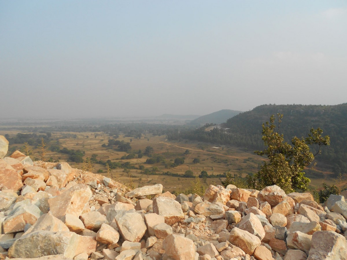 Landscape with boulders of the paleosol in foreground (credit: Quentin Crowley - Trinity College Dublin).