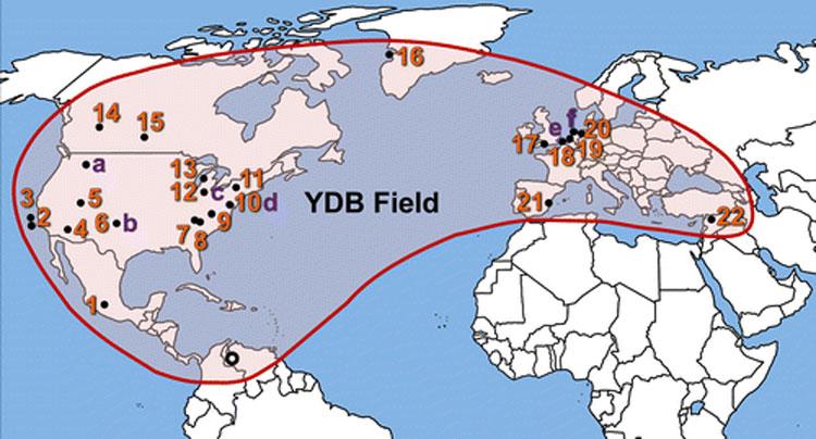 Map showing 24 sites containing Younger Dryas Boundary (YDB) nanodiamonds.