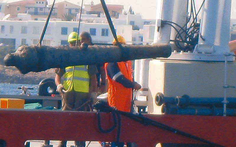 A cannon, dating back to the Ottoman period in Cyprus (16th–19th century), was recovered from an ancient shipwreck in the waters off Paralimni.