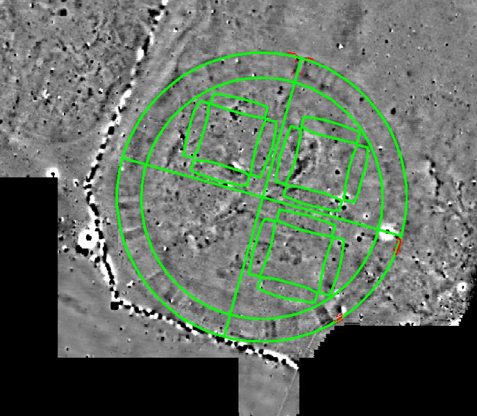 Ground plan of the Fyrkat Viking fortress placed on top of the Vallø ringed fortress. The red lines show the outline of the Vallø excavation. © Danish Castle Centre