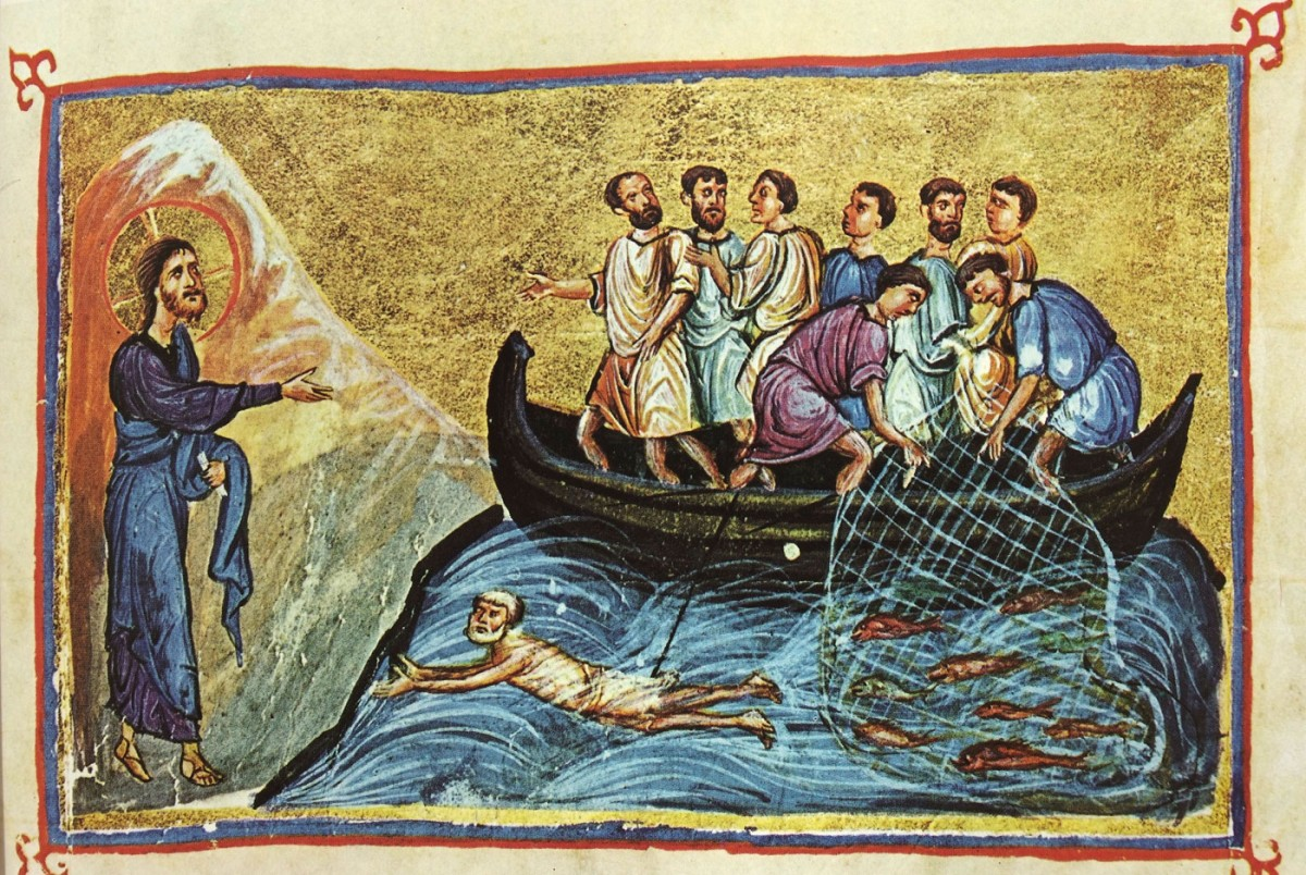 "Fig. 10. ""Christ appearing to the disciples near the sea of Tiberias"" (miniature), ""Οι Θησαυροί του Αγίου Όρους"", vol. I, p. 219, fig. 277."