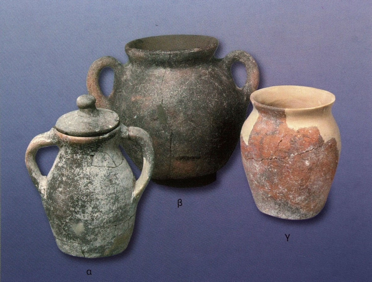 "Fig. 12. ""Cauldrons"": utensils for preparing εκζεστών ζωμών (boiled broths) (cooking utensils of the 7th to the 9th century), Βυζαντινών Διατροφή και Μαγειρείαι (2005), p. 112."
