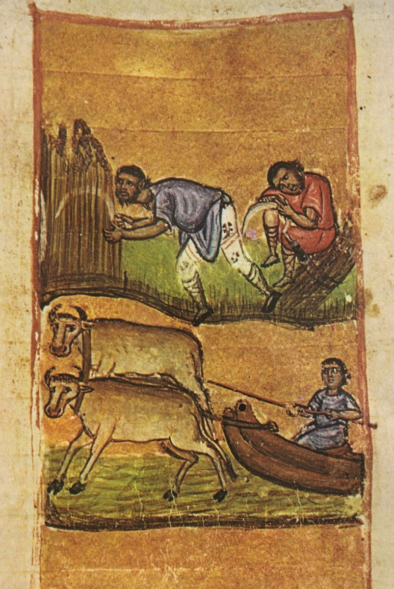 "Fig. 13. ""Scenes from rural life"" (miniature from the Codex of the Esfigmenos monastery), ""Οι Θησαυροί του Αγίου Όρους"", vol. II, p. 225, fig. 347."