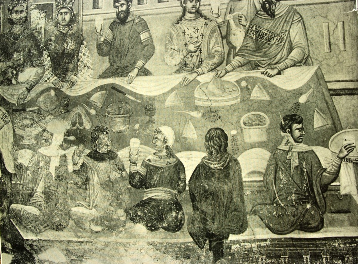 "Fig. 16. ""The wedding in Cana"" (14th century wall painting from Gracanica) from the personal archive of P. Dourouklakis."