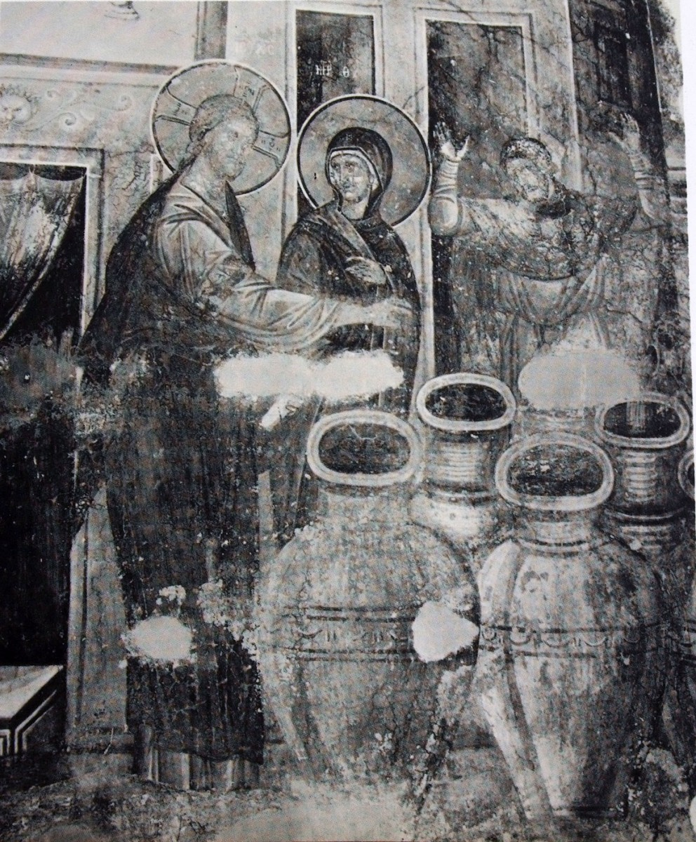 "Fig. 17. ""Christ blessing the jars of water to turn it into wine"" (14th century wall painting from Gracanica) from the personal archive of P. Dourouklakis."