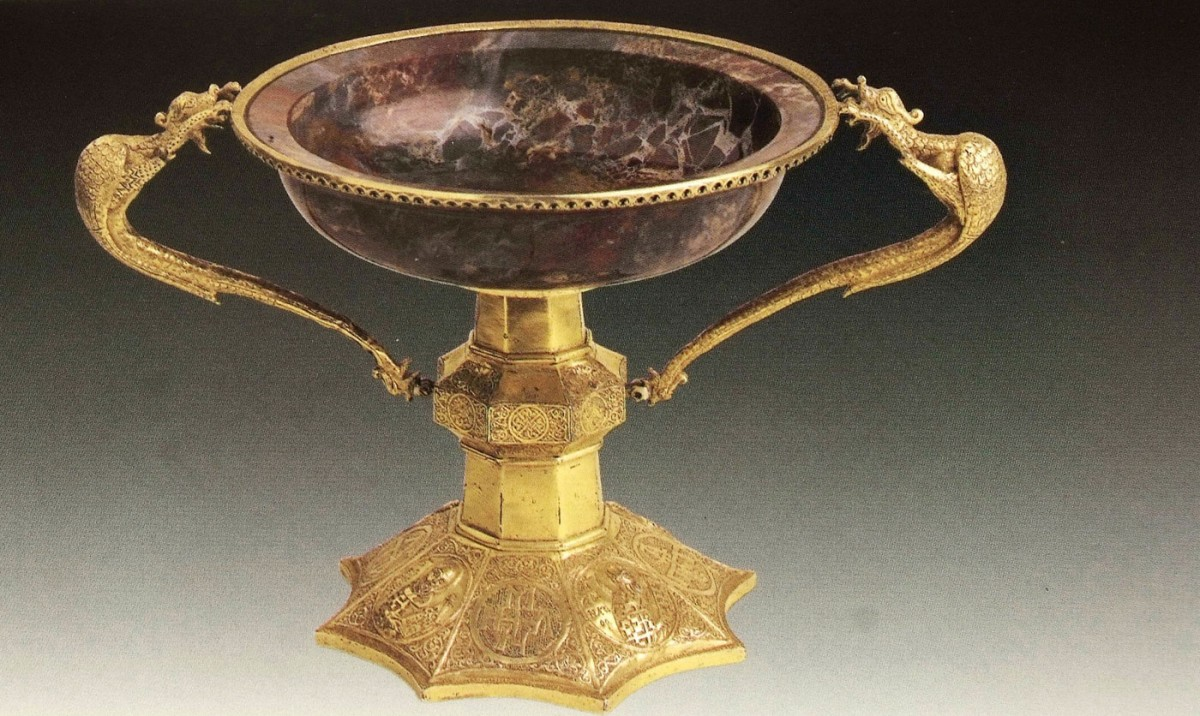 "Fig. 18. ""Iaspis/Jasper"": gift of Andronikos Palaiologos, despot of Thessaloniki (14th century glassware  from the Holy Great Monastery of Vatopedi ), ""Ιερά Μεγίστη Μονή Βατοπαιδίου"" (1996), vol. I, p. 45."