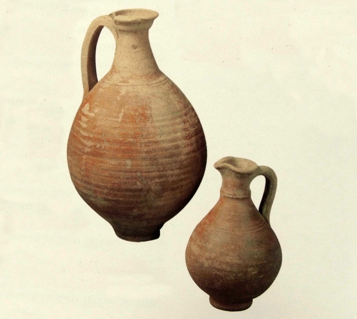 "Fig. 22. ""Ceramic pitchers"": they must have contained water for diluting wine (4th c. cooking utensils), Βυζαντινών Διατροφή και Μαγειρείαι (2005), p. 218."