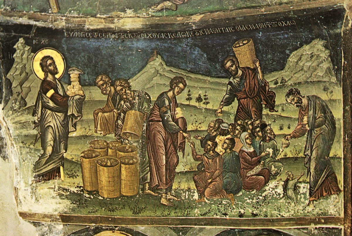 "Fig. 25. ""The Blessing of the loaves and fishes"" (16th c. wall painting from the Stavroniketas monastery), Χατζηδάκης (1986), p. 207."
