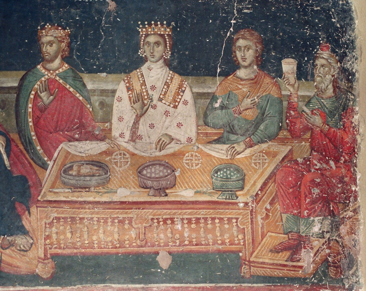 "Fig. 30. ""The wedding in Cana"" (14th c. wall painting from St Nikolaos the Orphan, Thessaloniki) Κουρκουτίδου-Νικολαΐδου/Τούρτα (1997), pp. 76-77."