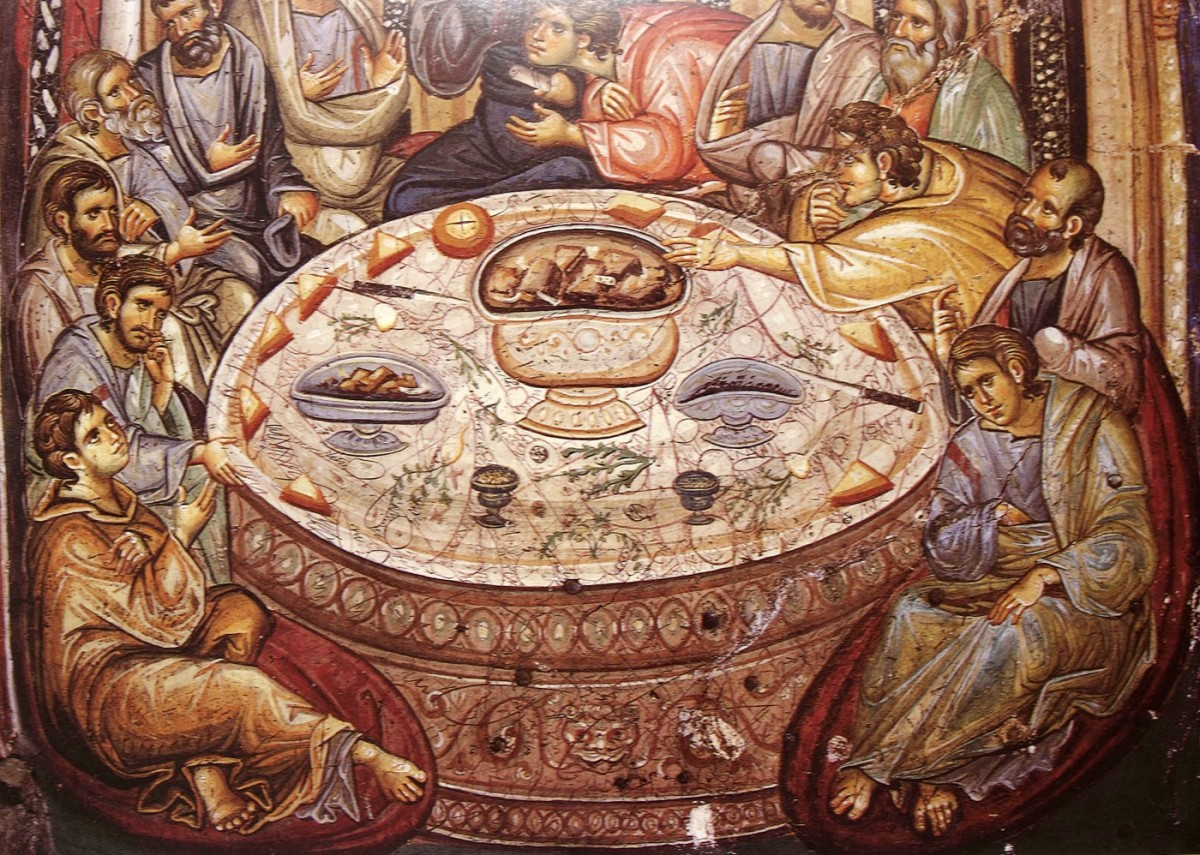 "Fig. 3. ""The Last Supper"" (wall painting in the outer narthex of the Holy Great Monastery of Vatopedi), ""Ιερά Μεγίστη Μονή Βατοπαιδίου"" (1996), p. 256."