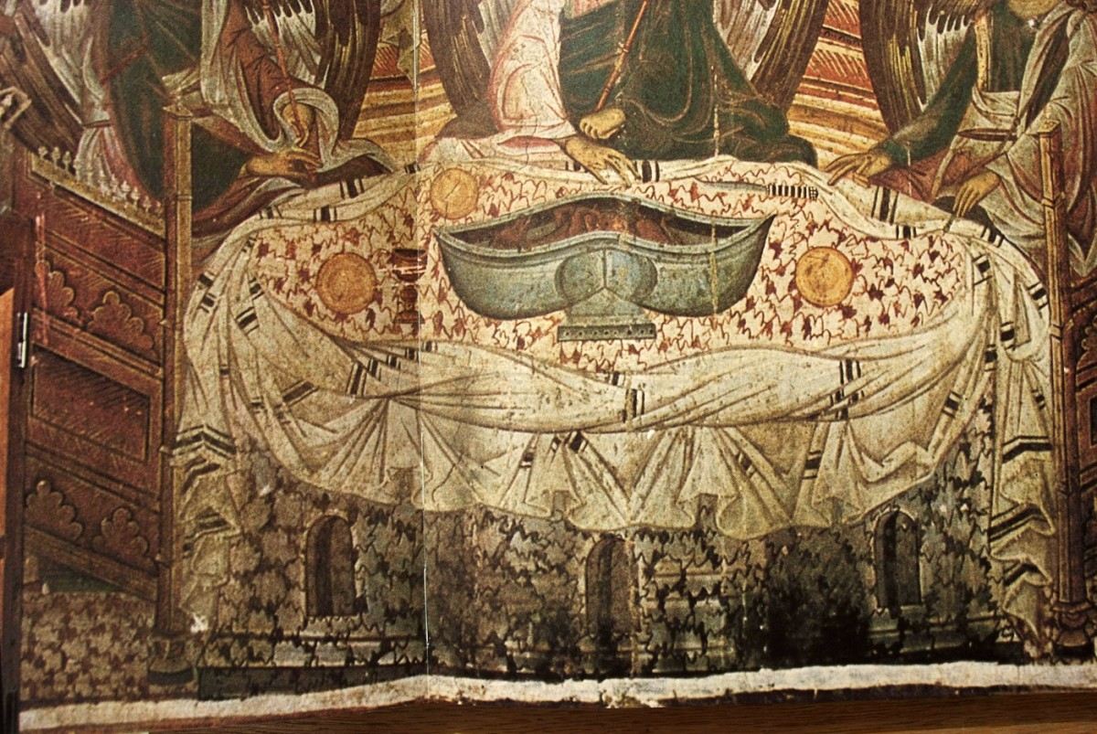 "Fig. 5. ""The hospitality of Abraham"": detail of the wall painting which shows an elliptic table covered by a tablecloth with rich drapery (wall painting from the Monastery of Chilandari), Bogdanovic/Djuric/Medacovic (1978), pp. 100-101."