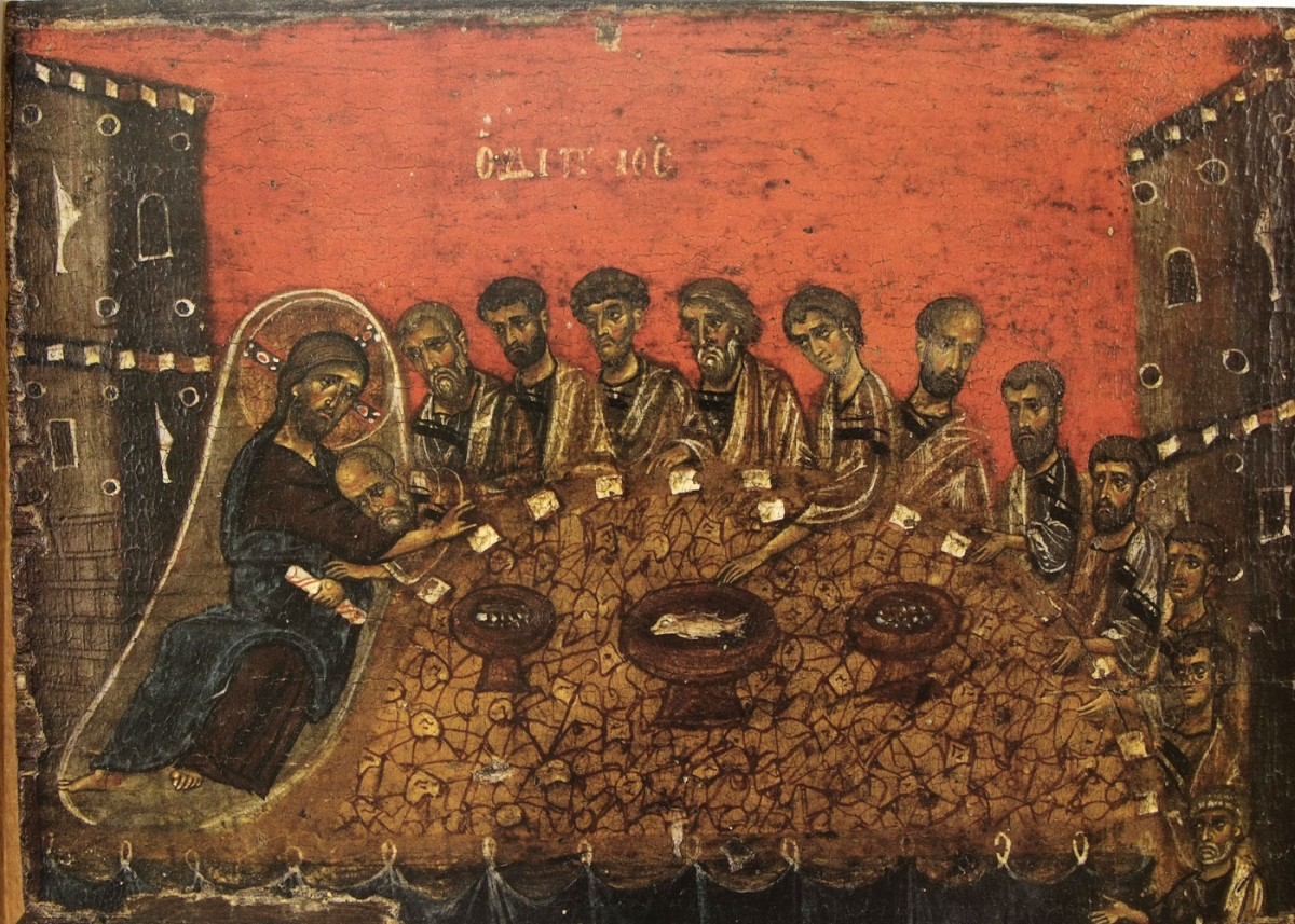 "Fig. 6. ""The Supper"": Christ on a couch with John, his beloved disciple, next to him. Judas in the centre of the group of disciples, reaches out for the bowl of fish (12th century icon from the Vatopedi Monastery), Τσιγαρίδας/Λοβέρδου-Τσιγαρίδα (2006), p. 71."
